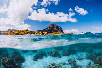 Tropical blue ocean with Le Morne mountain at Mauritius.
