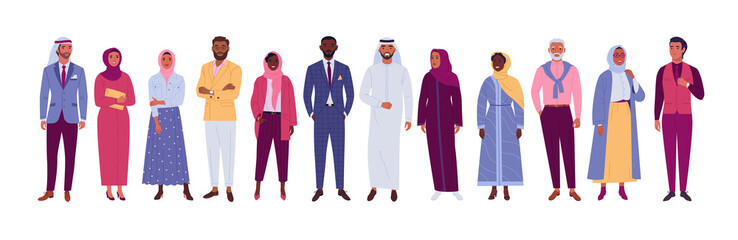 Muslim people collection. Vector illustration of diverse cartoon islam people in office and casual outfits. Isolated on white.