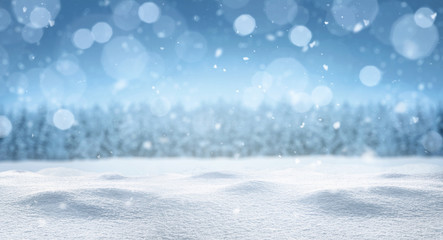Poster Blue sky Empty panoramic winter background with copy space