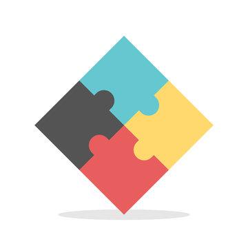 Four multicolor puzzles assembled