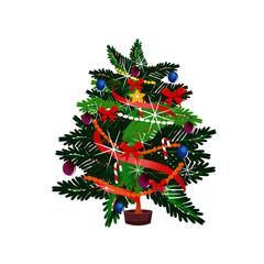 Christmas Tree - Isolated - Cartoon Vector Image