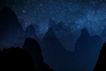 sfondo di stelle con motagne  Wall mural