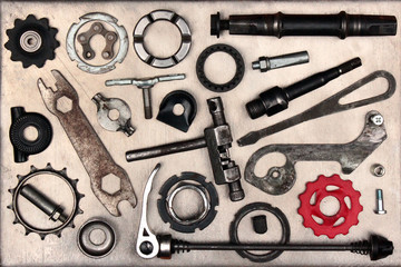 Old bicycle parts and tools