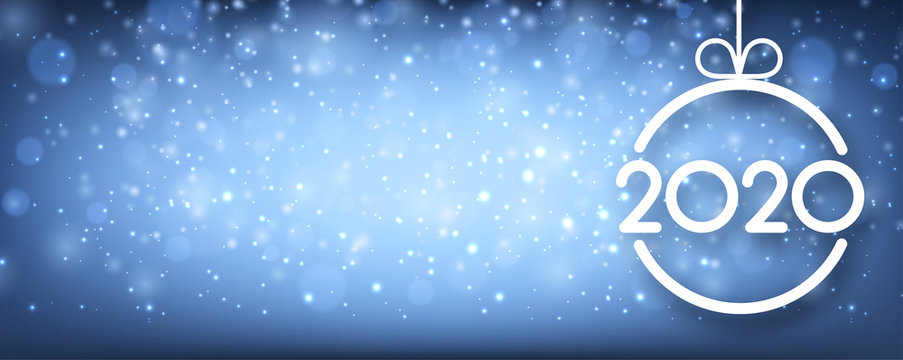 Blue shiny 2020 New Year banner with Christmas ball and snow.