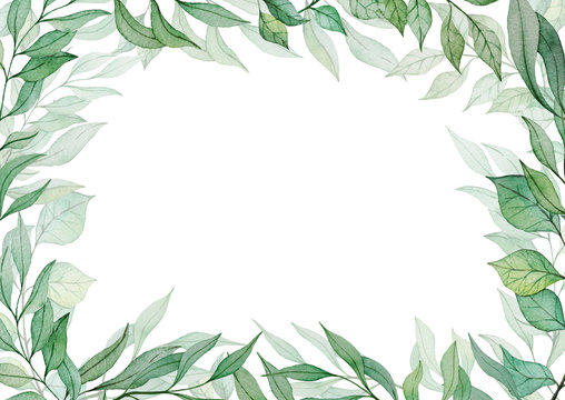 Card template with hand drawn watercolor green leaves