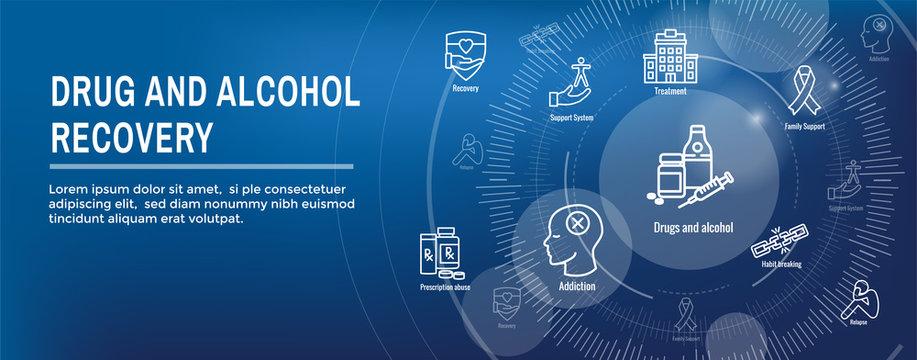Drug and Alcohol Dependency Icon Set & Web Header Banner