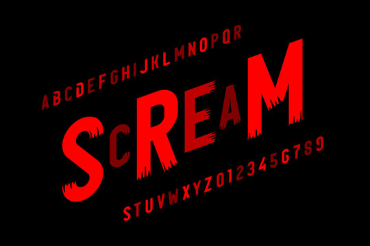 Scream font in Halloween style, alphabet letters and numbers