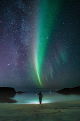 Woman,Aurora, Milkyway