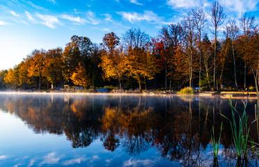 Autumn sunrise over a lake in Lake Ariel Pennsylvania