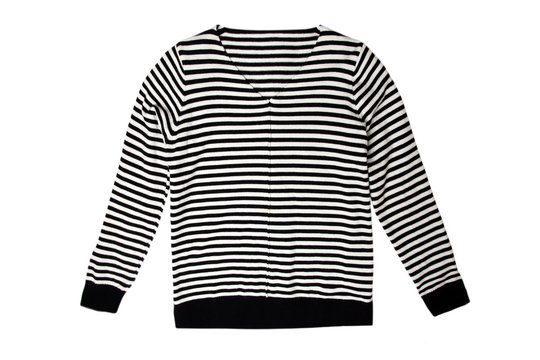 Female sweater in black and white stripes isolated on a white background