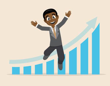African businessman happy arrow graph business success.
