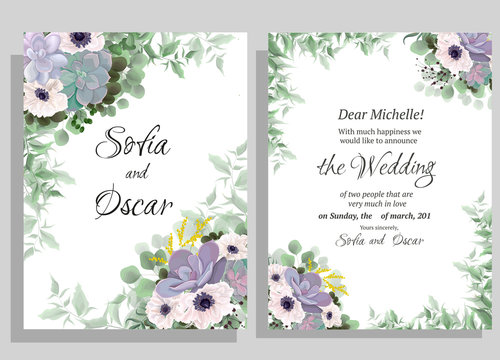 set of floral cards with flowers