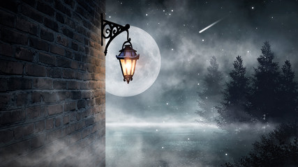 Fotobehang Donkergrijs Dark street, a lantern on an old brick wall, a large moon, smoke, smog. Night scene of the old city, dark forest.