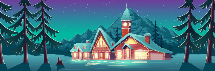 Christmas night in mountain city or Canada. Winter landscape with houses or chalet and tower with clock decorated with glowing lighting garlands for wintertime holidays. Cartoon vector illustration