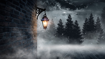 Foto op Plexiglas Donkergrijs Dark street, a lantern on an old brick wall, a large moon, smoke, smog. Night scene of the old city, dark forest.
