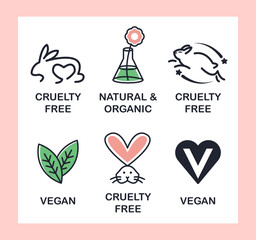 Set of 6 icons-badges: Vegan, Cruelty Free, Organic and Natural.