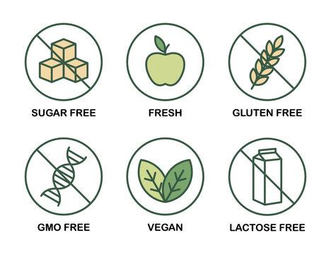 Set of icons: Sugar Free, Gluten Free, Vegan, Lactose Free, GMO Free, Fresh.