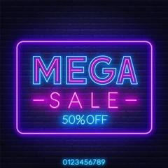 Fototapete - Mega sale neon sign on dark background. Discount template.