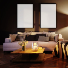 Cute living room interior with mockup frames by evening (detail) - 3d illustration