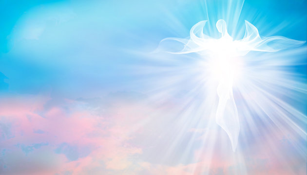 Archangel. Heavenly angelic spirit with wings. Illustration abstract white angel. Belief. Afterlife. Spiritual Angel. Blessing. Sky clouds with bright light rays. Heaven. Faith. Web banner