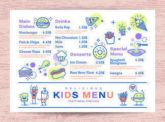 Cute colorful kids meal menu place mat design template. outline food icons on white background.