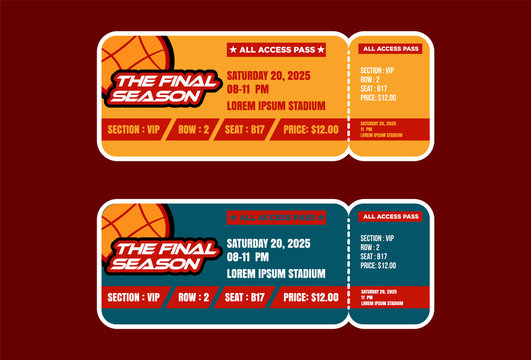 Ticket . Cinema, sport, basketball, Concert ticket template. party or festival ticket design template with people crowd on background