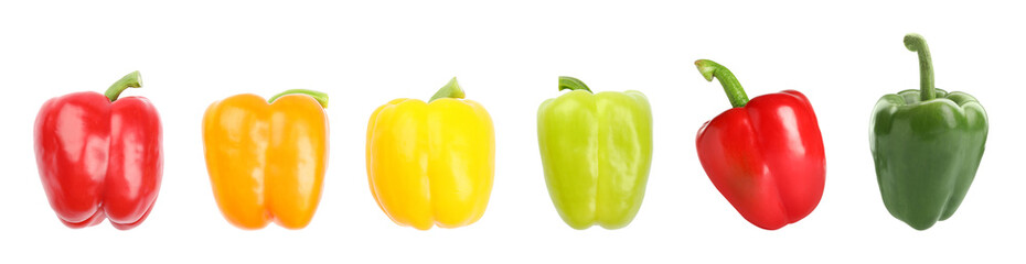Set of fresh ripe bell peppers on white background