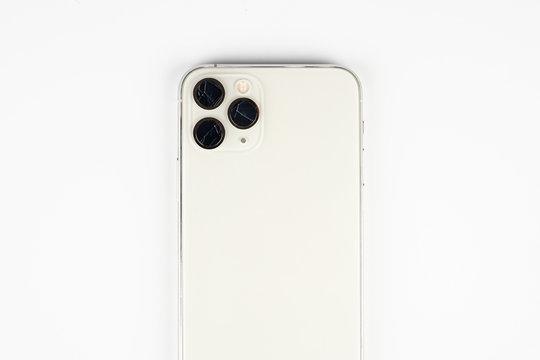 Broken lens , isolated on white background