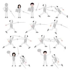 Fencing icon set. Fencing sport set. Vector.