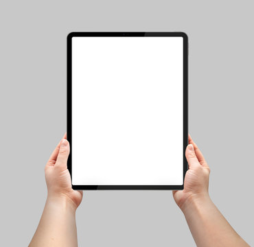 Tablet with a blank screen. Template, mockup, model, modern, design