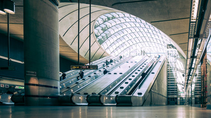 Canary Wharf underground station, London, UK.