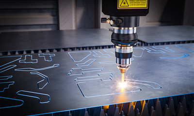Foto auf Leinwand Metall cnc laser machinery for metal cutting.
