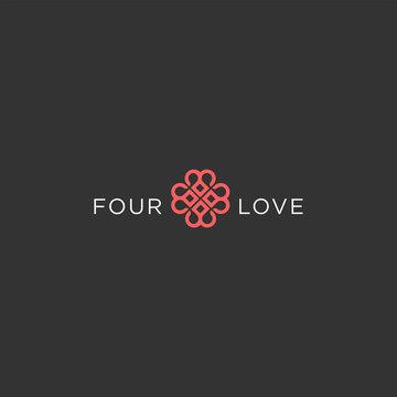 Number 4 heart logo design. Anniversary love icon illustration vector