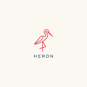 Heron logo design. Flamingo icon illustration vector