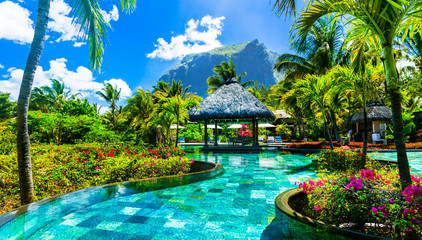 Tropical vacations - relaxing pool bar . Mauritius island