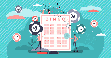 Lottery vector illustration. Flat tiny bingo game win luck persons concept.