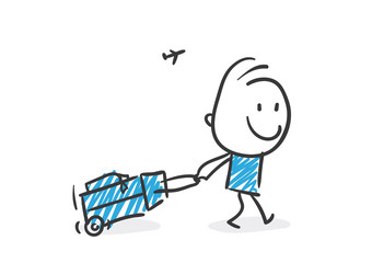 Stickman Blue: Suitcase, Travel. (Nr. 159)
