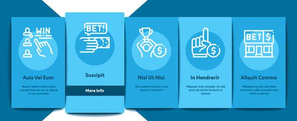 Betting And Gambling Onboarding Mobile App Page Screen Vector Thin Line. Basketball And Baseball, Hockey And Boxing, Horse Racing And Card Game Betting Concept . Illustrations