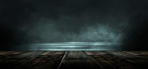 Fotomurales - Background of empty dark scene with wooden old floor. Neon light smoke. Dark abstract background