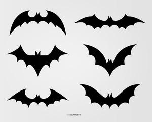 Black bat silhouette vector design
