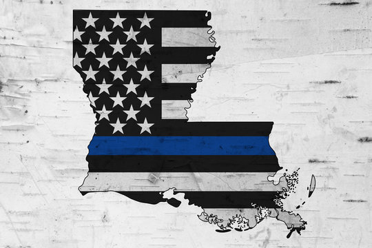 American thin blue line flag on map of Louisiana
