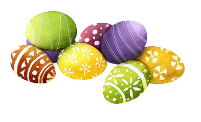 Picture of colorful decorated paschal eggs hand drawn in watercolor isolated on a white background. Watercolor Easter illustration