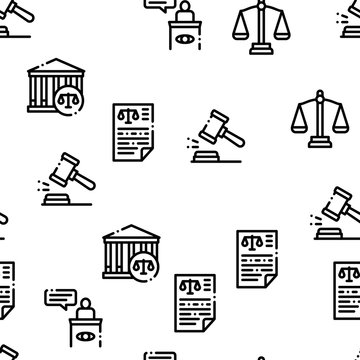 Law And Judgement Seamless Pattern Vector Thin Line. Contour Illustrations