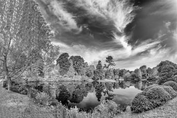 Aluminium Prints Dark grey Panoramic view of Hadlock Pond in foliage season. Tree colors of Acadia National Park, Maine