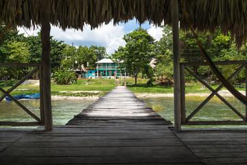 View from the dock at lake Itza, El Remate, Guatemala