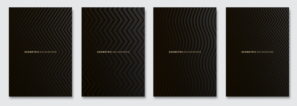 Vector abstract background, dark subtle creative wave patterns, geometric gradient texture. Deluxe Minimal pattern design. Modern Cover templates set.