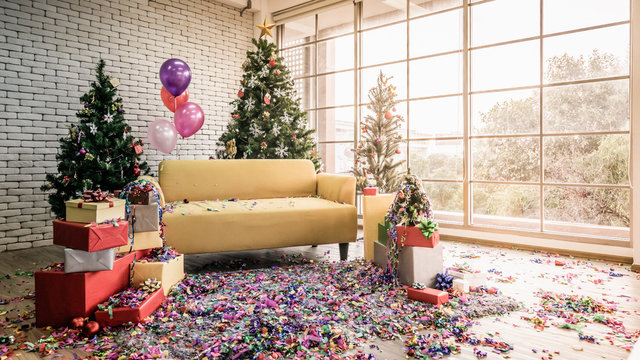 Happy New Year and Merry Christmas, beautiful living room at morning after party, preparing decorated for Christmas day