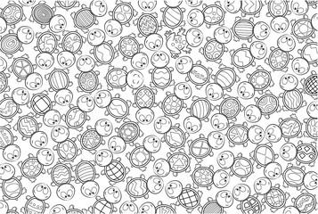 Niedliche Schildkröten Wimmelbild - Vektor Illustration