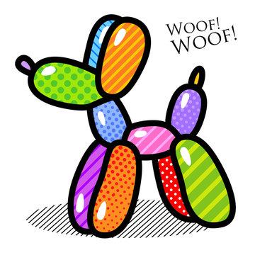 balloon dog poodle trendy pop art modern illustration for your design