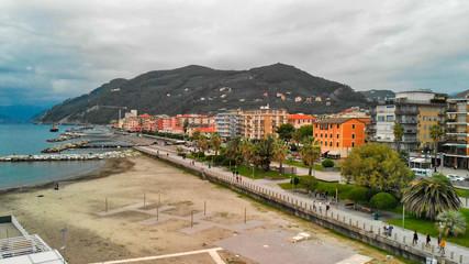 Aerial view of Chiavari city skyline. Liguria, Italy